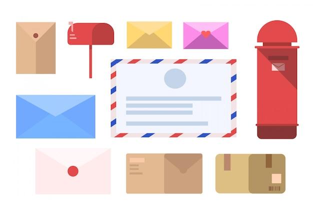 Conjunto de carta, carta ícone, carta ilustração vetorial e post box Vetor Premium