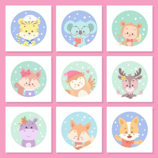 Conjunto de cartão bonito animal Vetor Premium