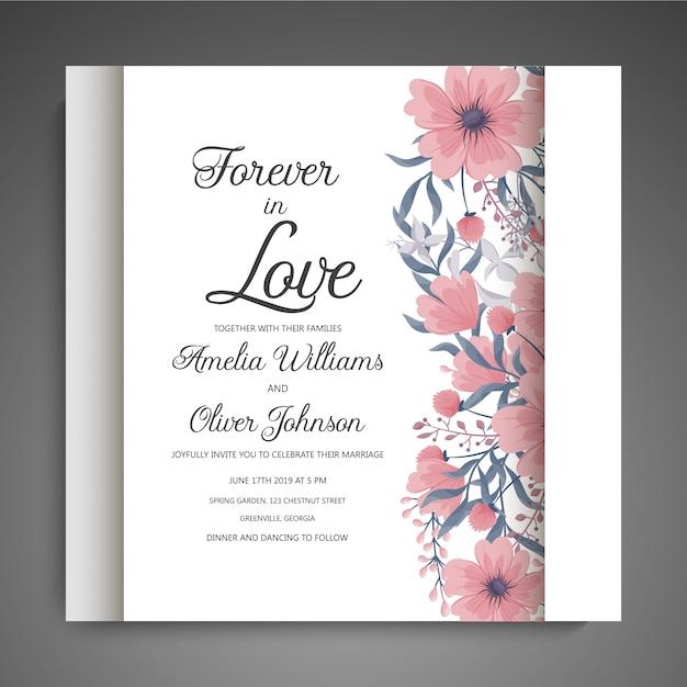 Conjunto de cartão com flor rosa, folhas. conceito de enfeite de casamento. cartaz floral, convidar. Vetor grátis