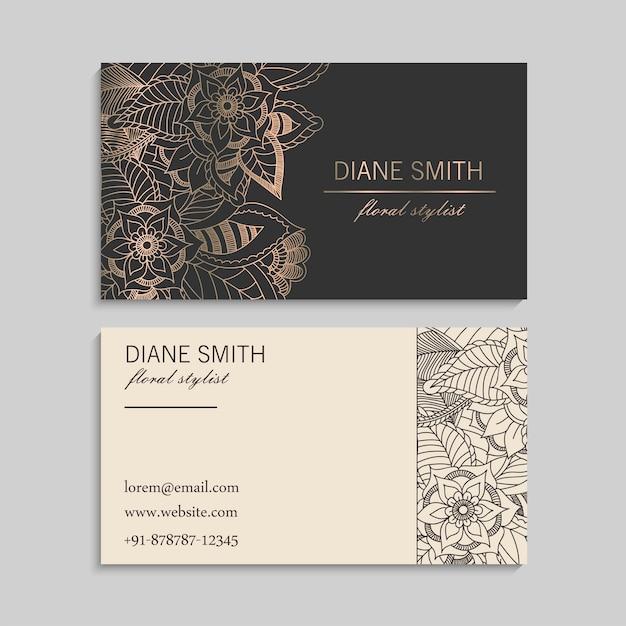 Conjunto de cartão com flores de mão desenhada zentangle. Vetor grátis