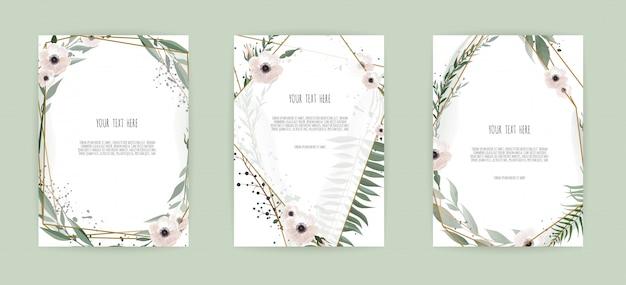 Conjunto de cartão com folhas e moldura geométrica Vetor Premium