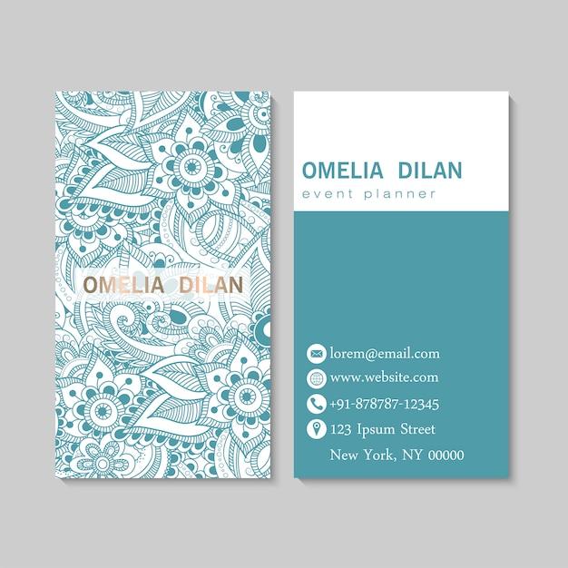 Conjunto de cartão com zentangle mão desenhadas flores. modelo Vetor grátis