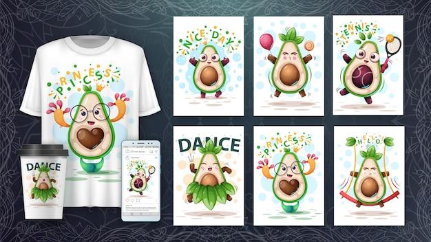 Conjunto de cartão de abacate doce e merchandising. Vetor Premium