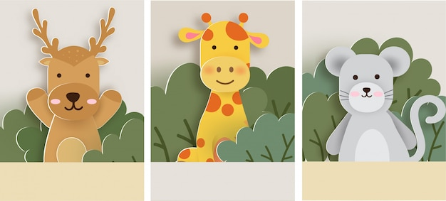 Conjunto de cartão de animais, veados, girafa e rato na floresta. estilo de corte de papel. Vetor Premium