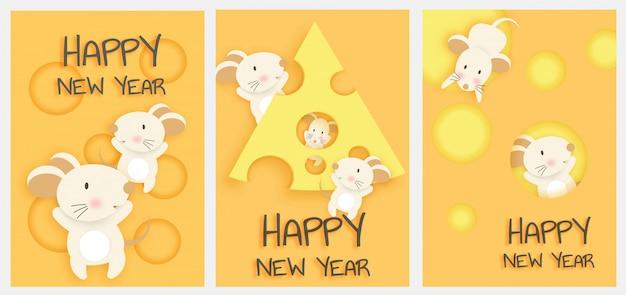 Conjunto de cartão de ano novo. ano novo chinês, ano do rato Vetor Premium