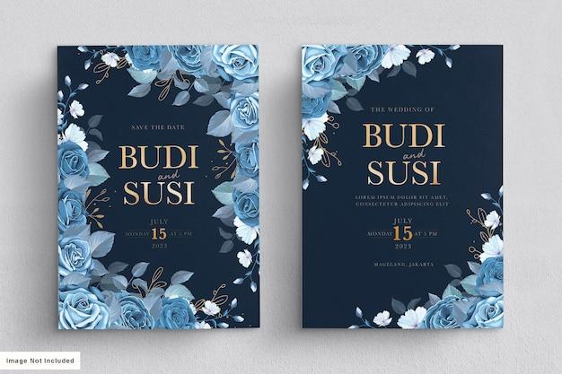 Conjunto de cartão de casamento floral azul Vetor grátis