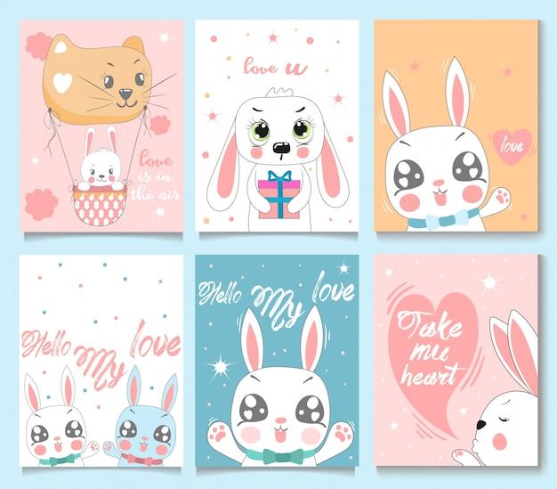 Conjunto de cartão de coelho de bebê. Vetor Premium