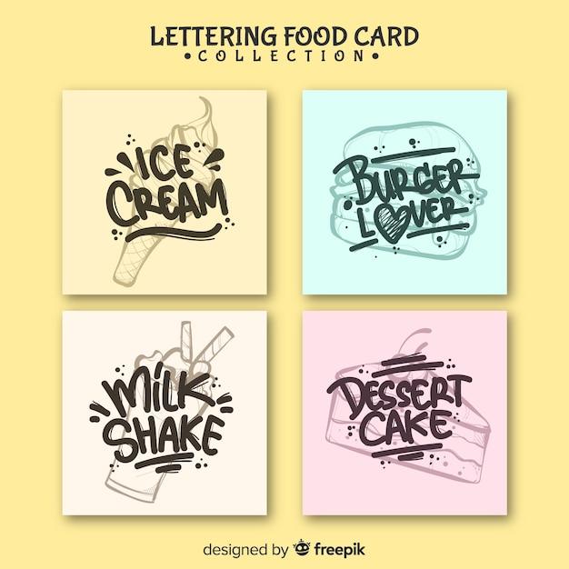 Conjunto de cartão de comida de letras Vetor grátis