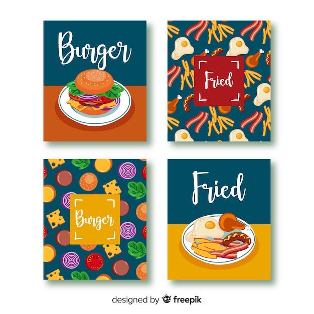 Conjunto de cartão de comida de mão desenhada Vetor grátis