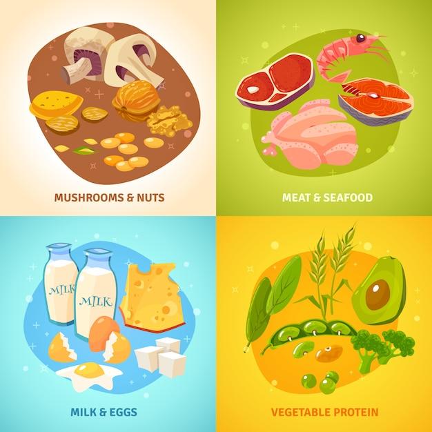 Conjunto de cartão de conceito de comida de proteína Vetor grátis