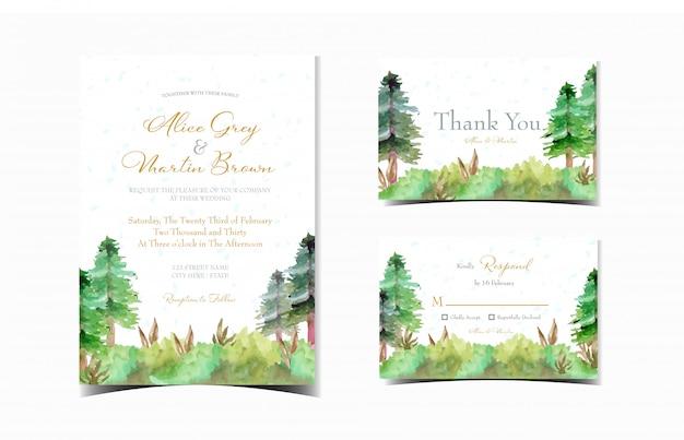 Conjunto de cartão de convite de casamento com jardim de pinheiros Vetor Premium