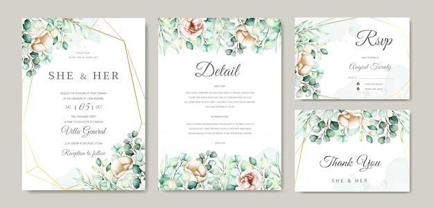 Conjunto de cartão de convite de casamento de eucalipto em aquarela Vetor grátis