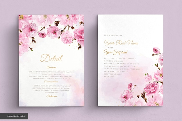 Conjunto de cartão de convite de casamento em aquarela de flor de cerejeira Vetor grátis