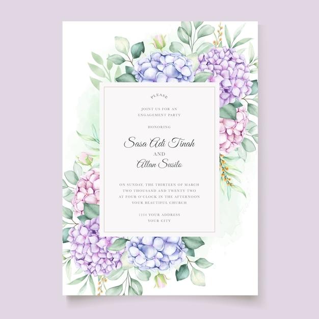 Conjunto de cartão de convite de casamento floral de hortênsia em aquarela elegante Vetor grátis