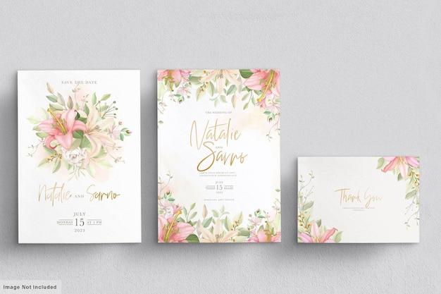 Conjunto de cartão de convite de casamento floral desenhado à mão Vetor grátis