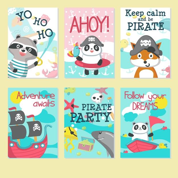 Conjunto de cartão de convite de festa pirata Vetor Premium