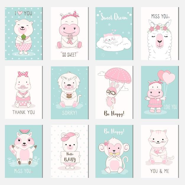 Conjunto de cartão de desenhos animados de animais bebê fofo Vetor Premium