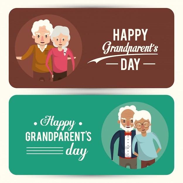 Conjunto de cartão de dia feliz avós com desenhos animados Vetor Premium