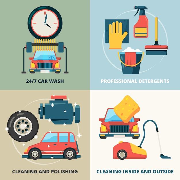 Conjunto de cartão de elementos de limpeza a seco de carro Vetor Premium