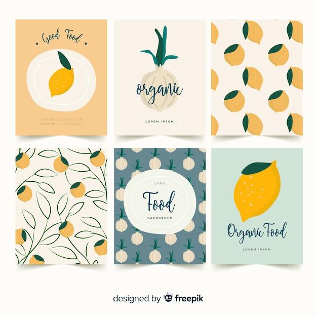 Conjunto de cartão de limão e cebola Vetor grátis