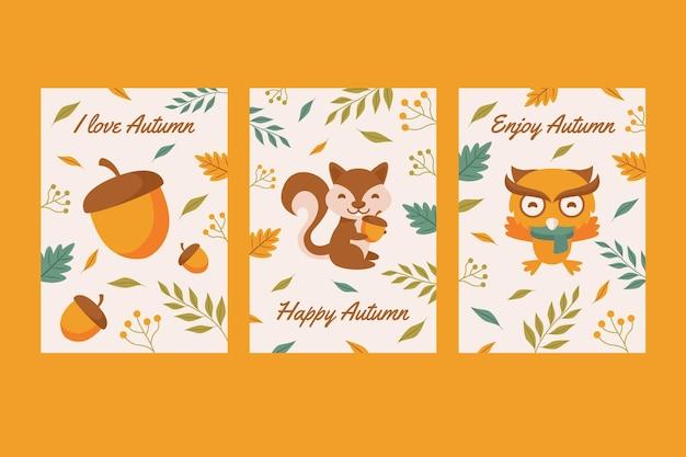 Conjunto de cartão de outono Vetor grátis