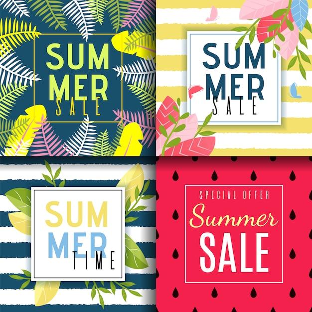 Conjunto de cartão de vendas de verão em estilo abstrato e floral Vetor Premium