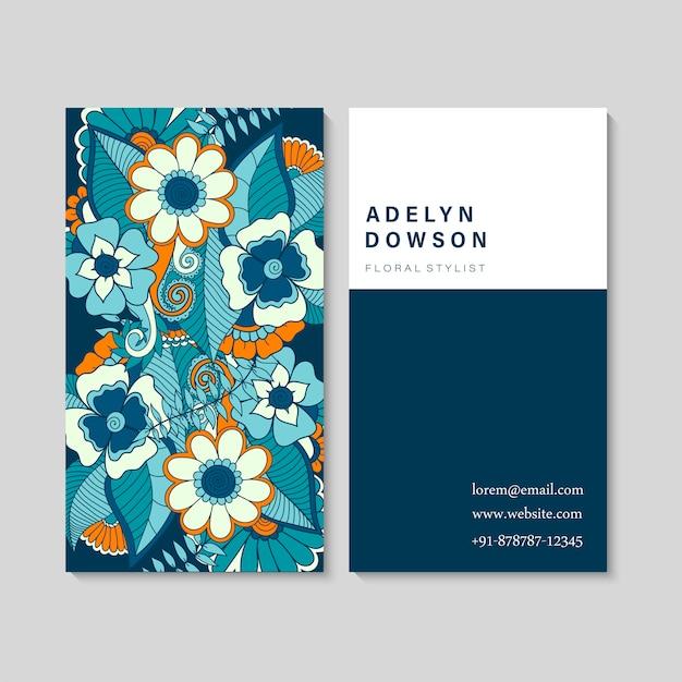 Conjunto de cartão de visita com zentangle mão desenhadas flores Vetor grátis
