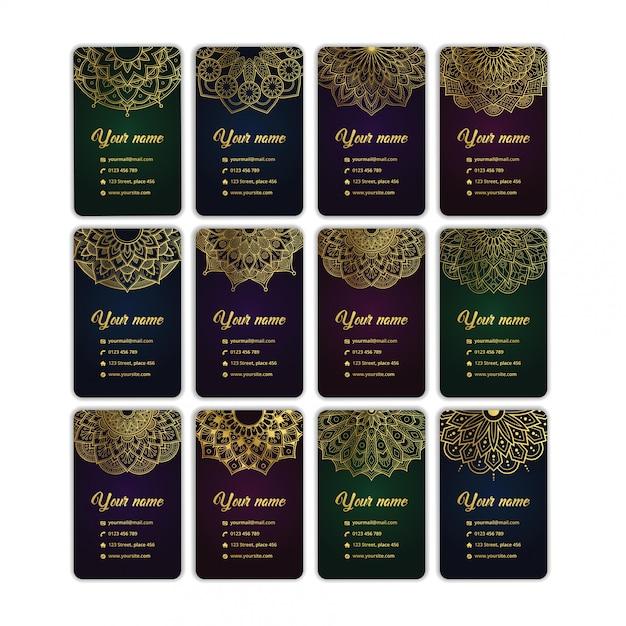 Conjunto de cartão de visita de luxo mandala ouro arabesco coleção Vetor Premium