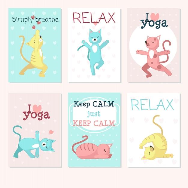 Conjunto de cartão de yoga de gatos Vetor Premium