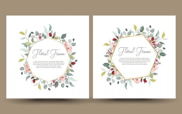 Conjunto de cartão decorativo ou convite com floral Vetor Premium