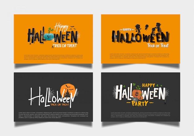 Conjunto de cartão escuro laranja de halloween Vetor Premium