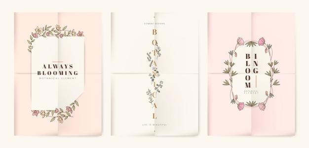 Conjunto de cartão floral botânico Vetor grátis