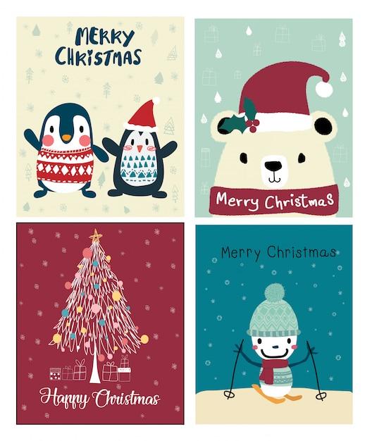 Conjunto de cartão fofo de natal Vetor Premium