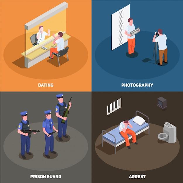 Conjunto de cartão isométrica de cenas de prisão de prisão Vetor grátis