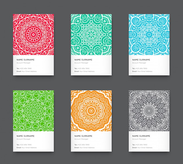 Conjunto de cartão vertical na moda brilhante Vetor Premium