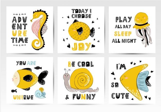Conjunto de cartas, animais marinhos dos desenhos animados, frases de rotulação Vetor Premium