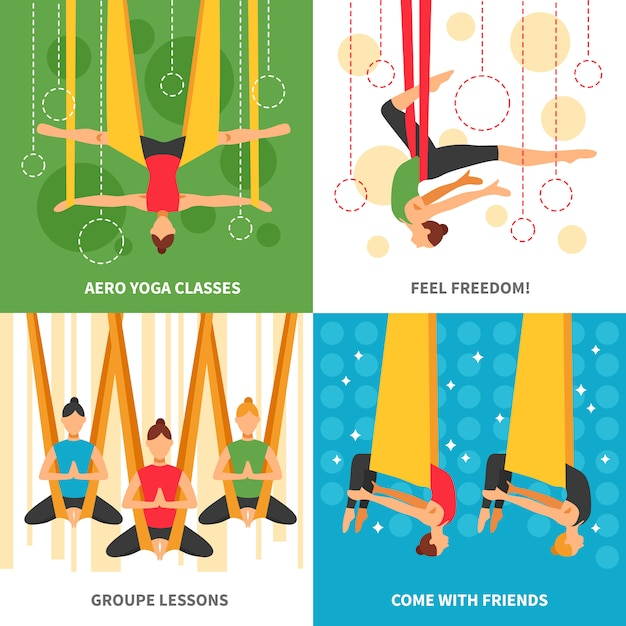 Conjunto de cartas de aero yoga Vetor grátis