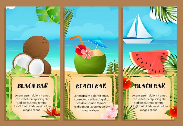 Conjunto de cartas de praia, melancia e coquetel de coco Vetor grátis