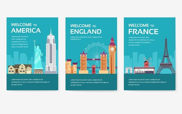 Conjunto de cartas do país dos eua, inglaterra, china, frança, rússia, tailândia, japão, itália. Vetor Premium