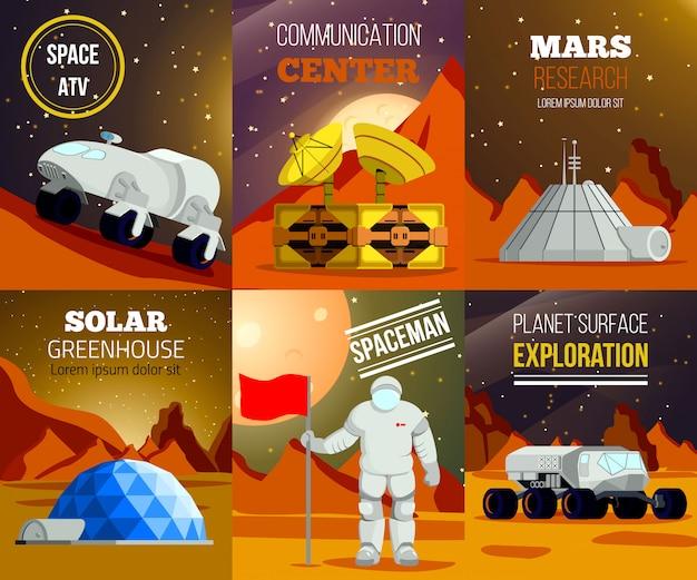Conjunto de cartas planas da colonização do planeta Vetor grátis