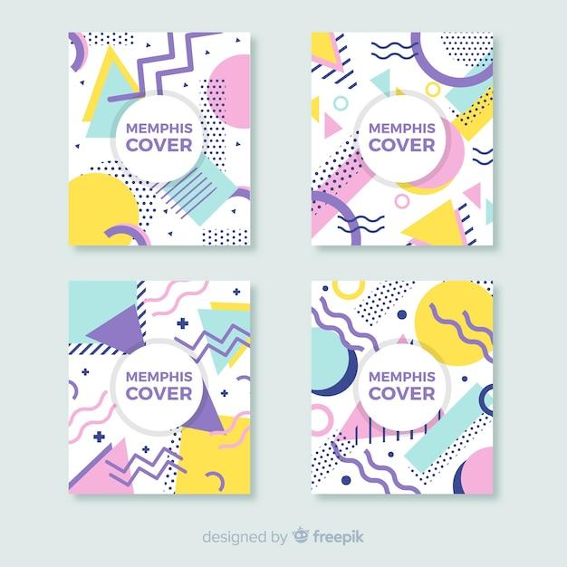 Conjunto de cartaz colorido memphis estilo Vetor grátis