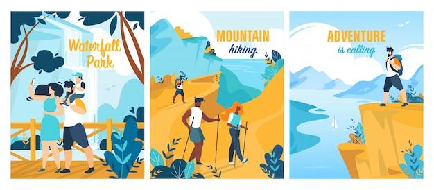 Conjunto de cartaz de aventuras de verão Vetor Premium
