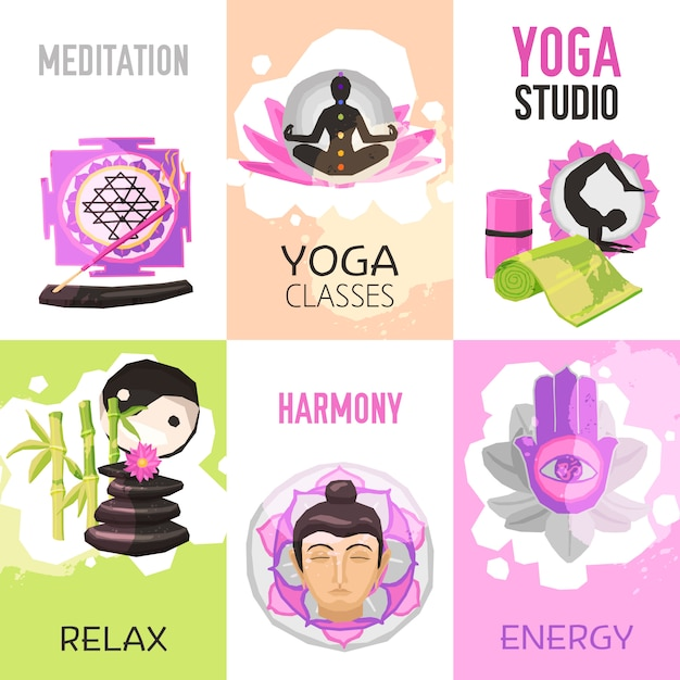 Conjunto de cartaz de ioga Vetor grátis