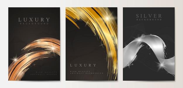 Conjunto de cartaz de luxo Vetor grátis
