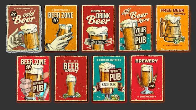 Conjunto de cartaz de publicidade de coleção de cerveja Vetor Premium