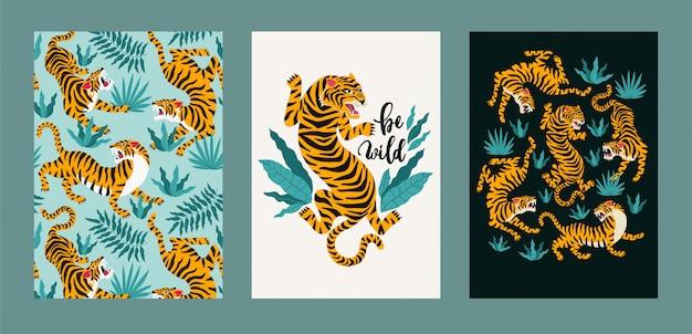Conjunto de cartaz de vetor de tigres e folhas tropicais. Vetor Premium