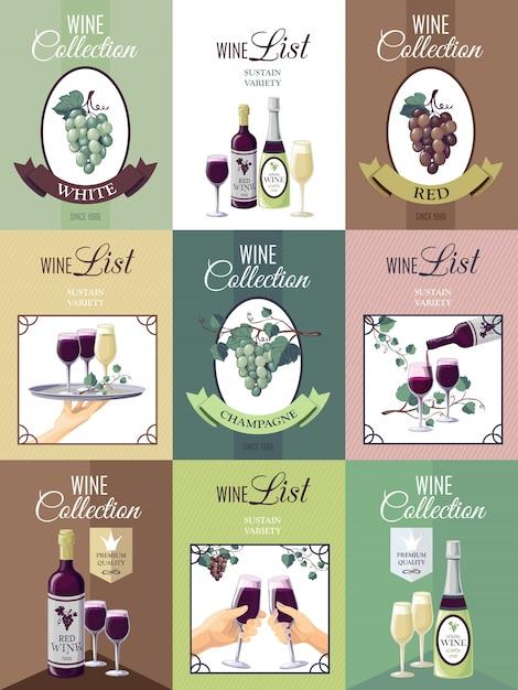 Conjunto de cartaz do menu do vinho Vetor grátis