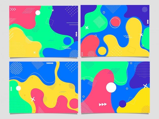 Conjunto de cartaz ou modelo, folheto com arte fluida abstrata colorida. Vetor Premium