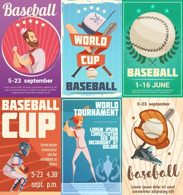 Conjunto de cartazes de beisebol em estilo retro com publicidade de data de torneios e copa do mundo plana Vetor grátis