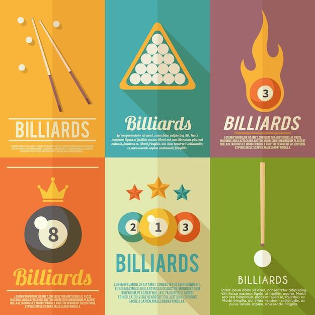 Conjunto de cartazes de bilhar Vetor grátis